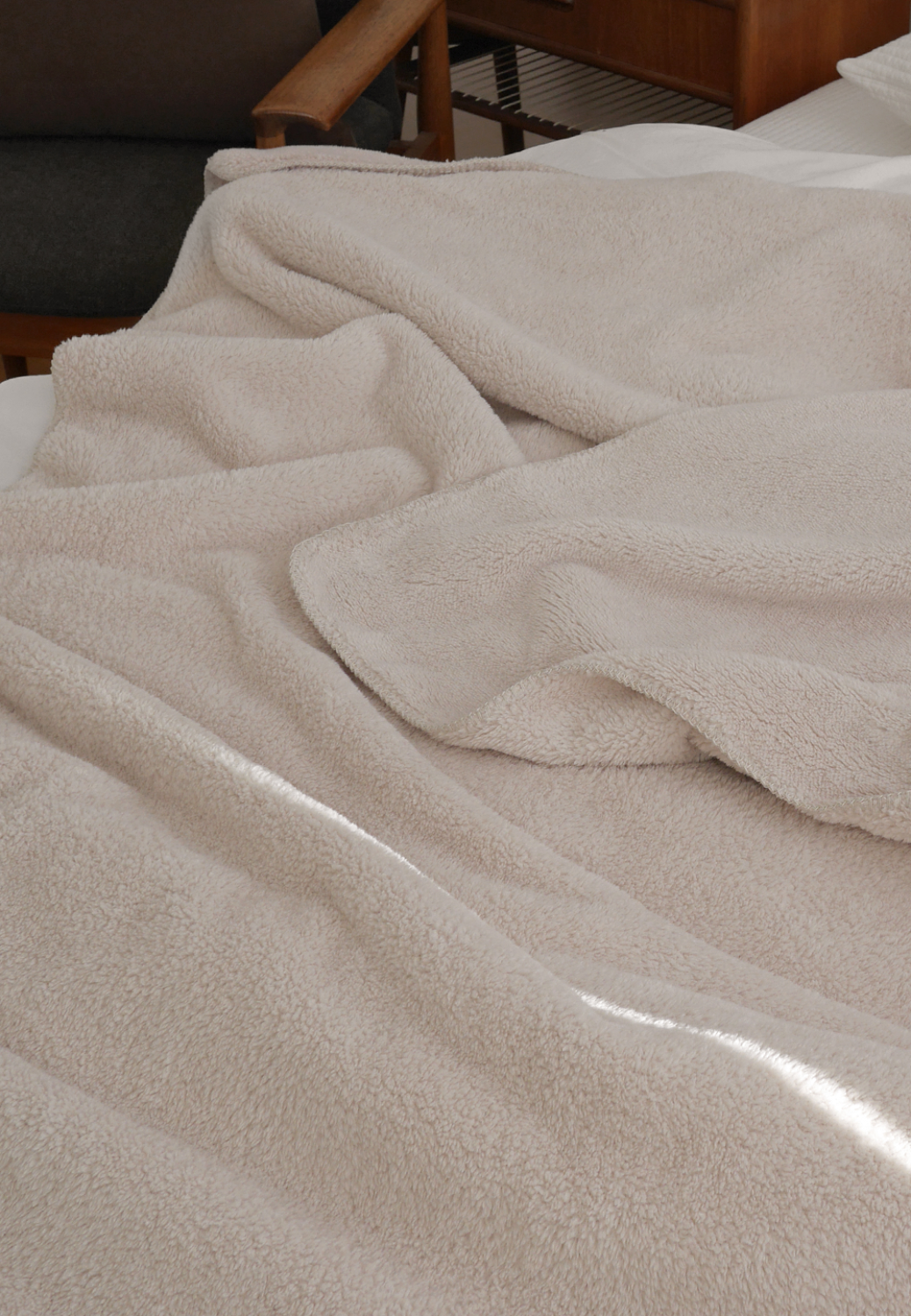 Furry Cream Fleece Blanket