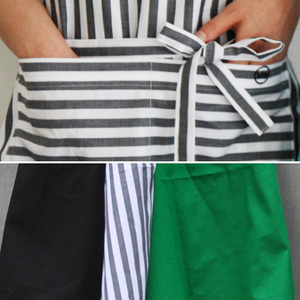 Long Apron Black&Stripe&Green